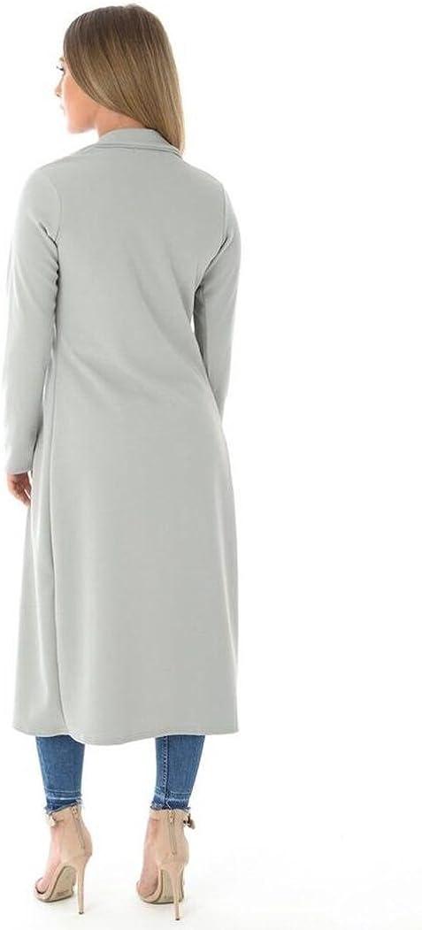 OgLuxe Womens Calf Length Dustar Coat Womens Duster Casual Long Sleeve Lightweight Trench Coat