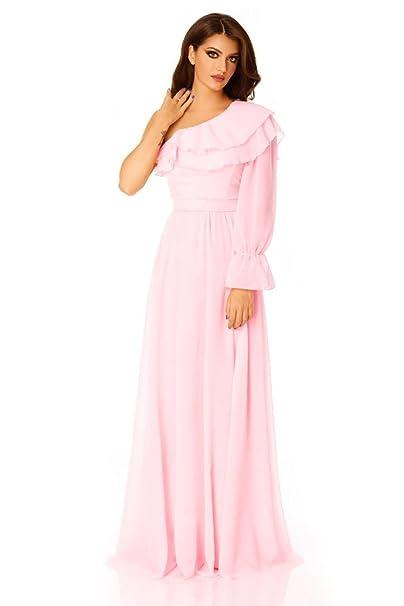 Miss Grey Mujer Ropa de Noche Largo Velo Hombro Descubierto Escote Asimetrico Volantes Elegante Vestido de Fiesta: Amazon.es: Ropa y accesorios