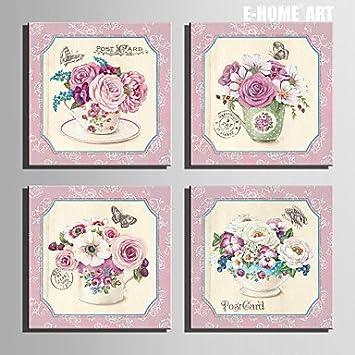 Gag Decorative Gemälde @ Glas Dekoratives Gemälde Art Of Gespannte Leinwand  Mit Rosa Blumen Mit