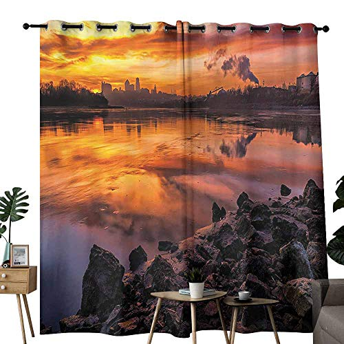 (Mannwarehouse Landscape Printed Curtain USA Missouri Kansas City Scenery of a Sunset Lake Nature Camping Themed Art Photo for Living, Dining, Bedroom (Pair) W120 x L84 Multicolor )