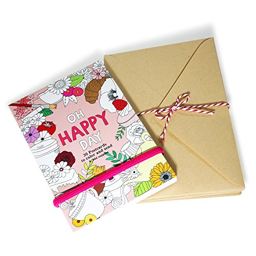 - 'OH HAPPY DAY' Coloring Postcard Book and 10 X Brown Kraft Envelopes Set, 30 Postcards 4X6, Elastic Closure- Adult Coloring Book Note Cards and Envelopes Kit