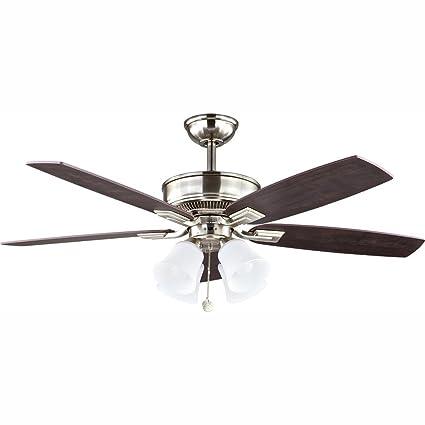 Hampton Bay 57233 52 in. Devron LED Brushed Nickel Ceiling Fan on