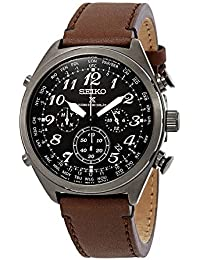 Men's Prospex Radio Sync Solar Brown Leather Strap Watch