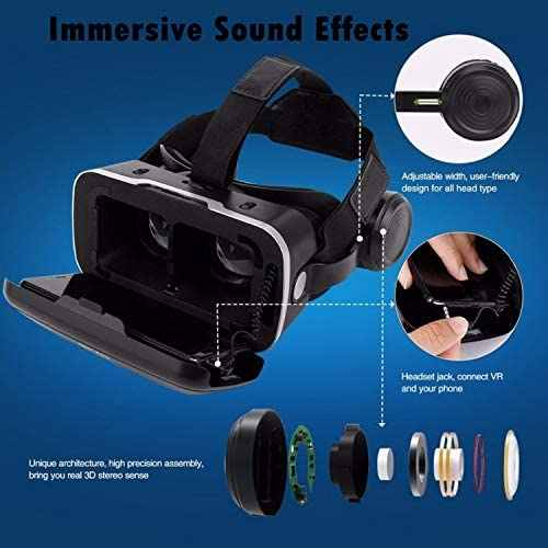 Immersive 3D VR Glasses Box Virtual Reality Headset Pro Version with Earphone Compatible for iPhone 11 Pro Samsung LG Moto HTC etc. 4.0-6.0inch Cellphone with Gift Wireless Remote Controller, Black 5176KW 2BxTGL