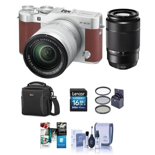 Fujifilm-X-A3-Mirrorless-Camera-with-XC-16-50mm-f35-56-Lens-Brown-With-Fujifilm-XC-50-230mm-76-350mm-F45-67-OIS-II-Lens-Bundle-With-16GB-SDHC-Card-Camera-case-58mm-Filter-Kit-And-More