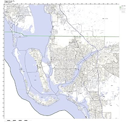 Amazon Com Cape Coral Fl Zip Code Map Laminated Home Kitchen