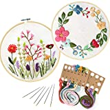 2 Pack Embroidery Kit, Full Range of Embroidery Starter Kit with Pattern DIY Embroidery Kit for Beginner...