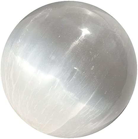 White Selenite Sphere Crystal Ball stand included 3 inches