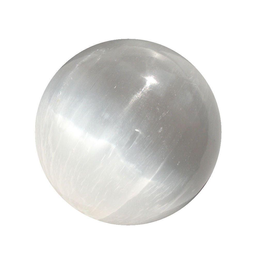 JIC Gem 1 pc of 5'' 13cm Selenite Sphere Ball, Healing Crystal, Art Decoration and Metaphysical Healing Mineral Balanc by JIC Gem