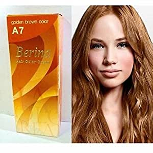 Amazon.com : Permanent Grey Hair Dye Golden Brown Color Cream Berina A7 New in Box Free Gloves