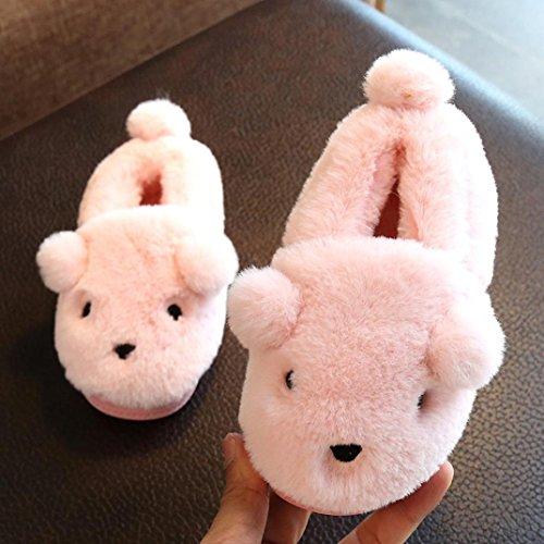 Transer® Babyschuh Mädchen Jungen Plüsch -Schnee-Schuhe Nette Kleinkind Kinder Casual Warm Weiches Herbst Winter Karikatur Schuhe mit Ohren Rosa