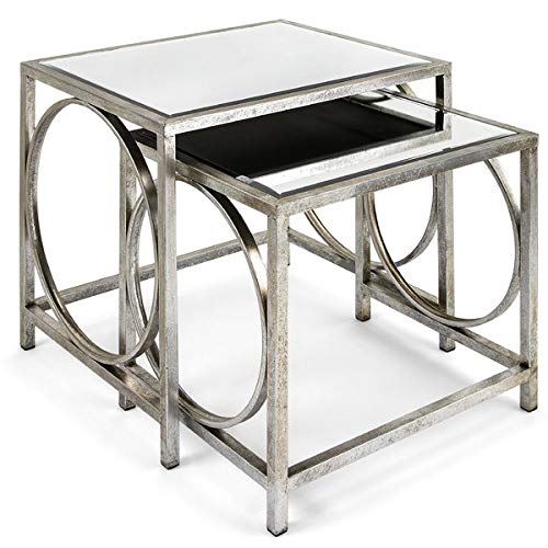 2 Piece Nesting End Tables with Mirrored Top - Iron Base End Table - Silver (Nesting Square Tables Iron)