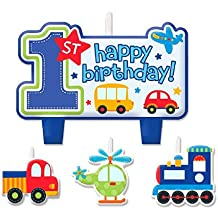 All Aboard! Birthday Party Decorative Cake Candle Set, Multi Colored, Wax, Assorted sizes, 8-Piece