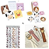 172 Farm Animal Party Favors - 24 Each; Pencils - NOTEPADS - Bookmarks & 100 Stickers Birthday Parties Barnyard Pig Cow Chicken Teacher Classroom Rewards Supplies School