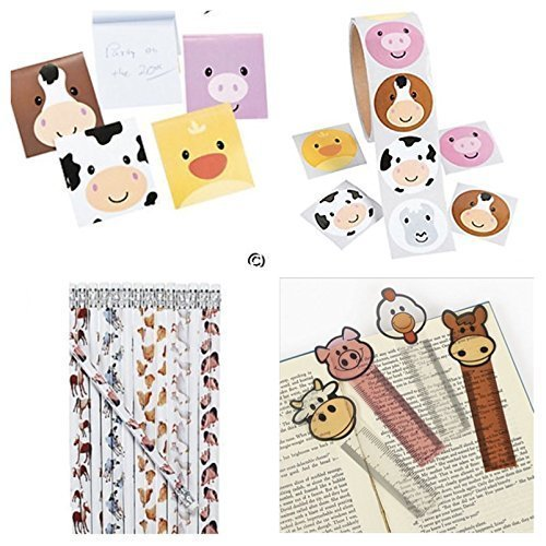 172 Farm Animal Party Favors - 24 Each; Pencils - NOTEPADS - Bookmarks & 100 Stickers Birthday Parties Barnyard Pig Cow Chicken Teacher Classroom Rewards Supplies School by Just4fun