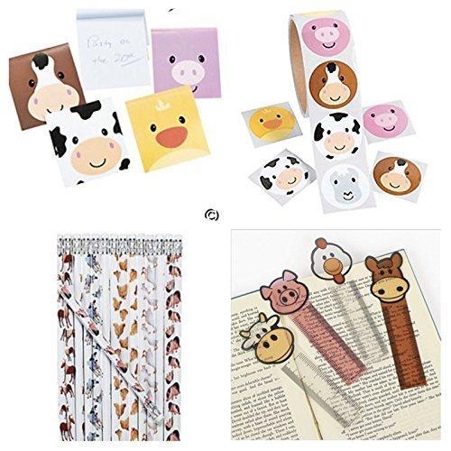 172 Farm Animal Party Favors - 24 Each; Pencils - NOTEPADS - Bookmarks & 100 Stickers Birthday Parties Barnyard Pig Cow Chicken Teacher Classroom Rewards Supplies School