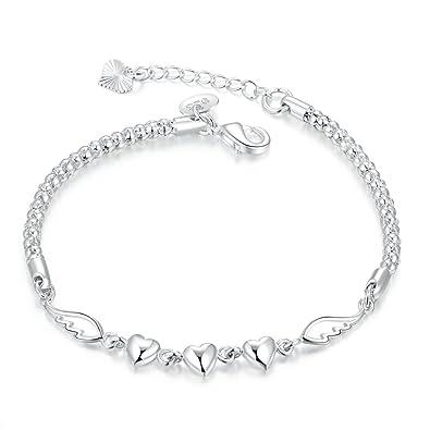 Joyería mujer pulseras corazón pulsera alas figura buen regalo navidad san valentín plata (caja de