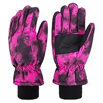 Wantdo Womens Waterproof Windbreaker Insulated Fleece Lined Snowboarding Ski Gloves