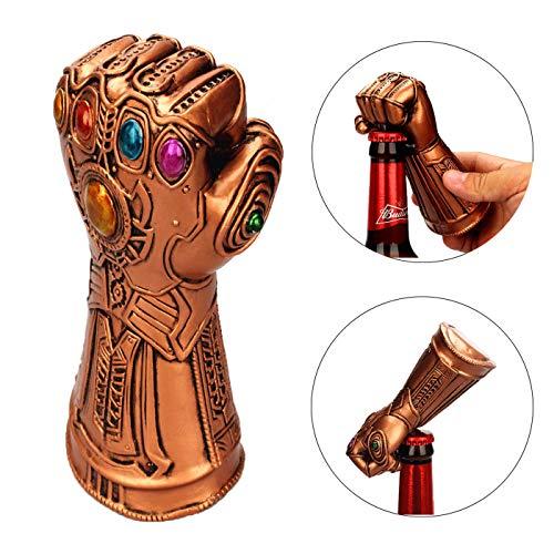 (3D Beer Bottle Opener Cola Bottle Opener with Thanos Gauntlet Design, AISALL Thanos Gauntlet Gloves Bottle Opener Cool Decapitator Bottle Opener Bar Gadget For Beer Lovers (Gold Glove))