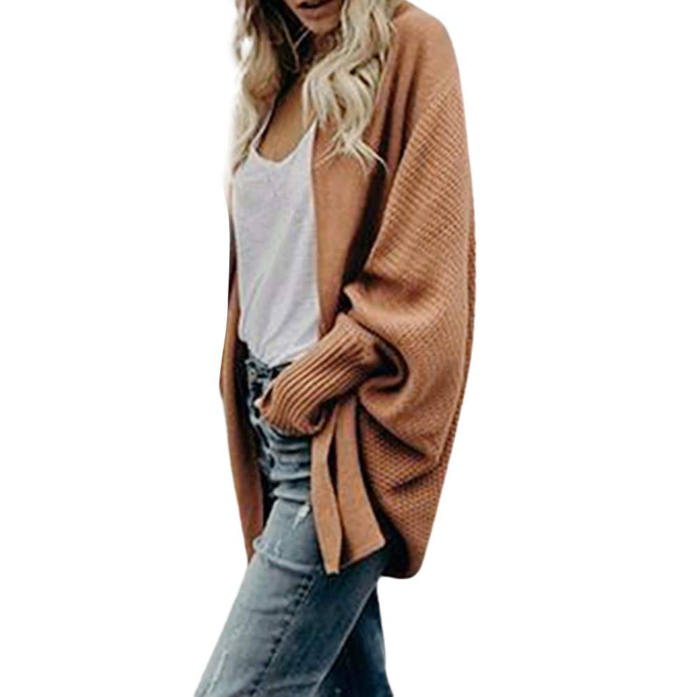 Cardigans for Women, Casual Drape Loose Open Front Soft Chunky Knit Pullover Sweater Cardigans (Khaki,X-Large by WUAI-Women