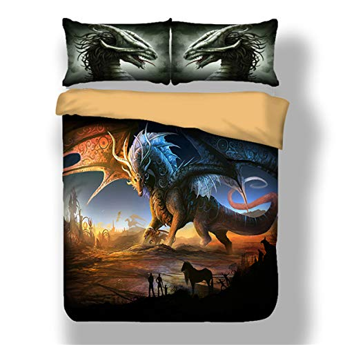 Dragon Bed Set - Guidear 3D Printed Dragon Beding Set for Kids Children Cartoon Dragon with Wings Duvet Cover with 2 Pillowcases Anti-Allergic Microfiber Comforter Cover Queen Size 90