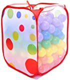 Wonder Playball Non-Toxic Non-Recycled Phlathlate & BPA Free Pit Balls for Kids with Polka Dot Hamper (200 Count), Red/Orange/Yellow/Green/Blue/Purple, 6.5 cm