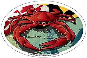 Maryland Red Crab Oval Magnet, 6 x 4 inches - Euro Car Fridge Locker Vinyl Magnet