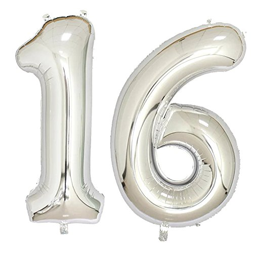 40 inch Jumbo Silver Number Balloons for Birthday Party, Anniversary Decoration … (Silver16) for $<!--$8.99-->