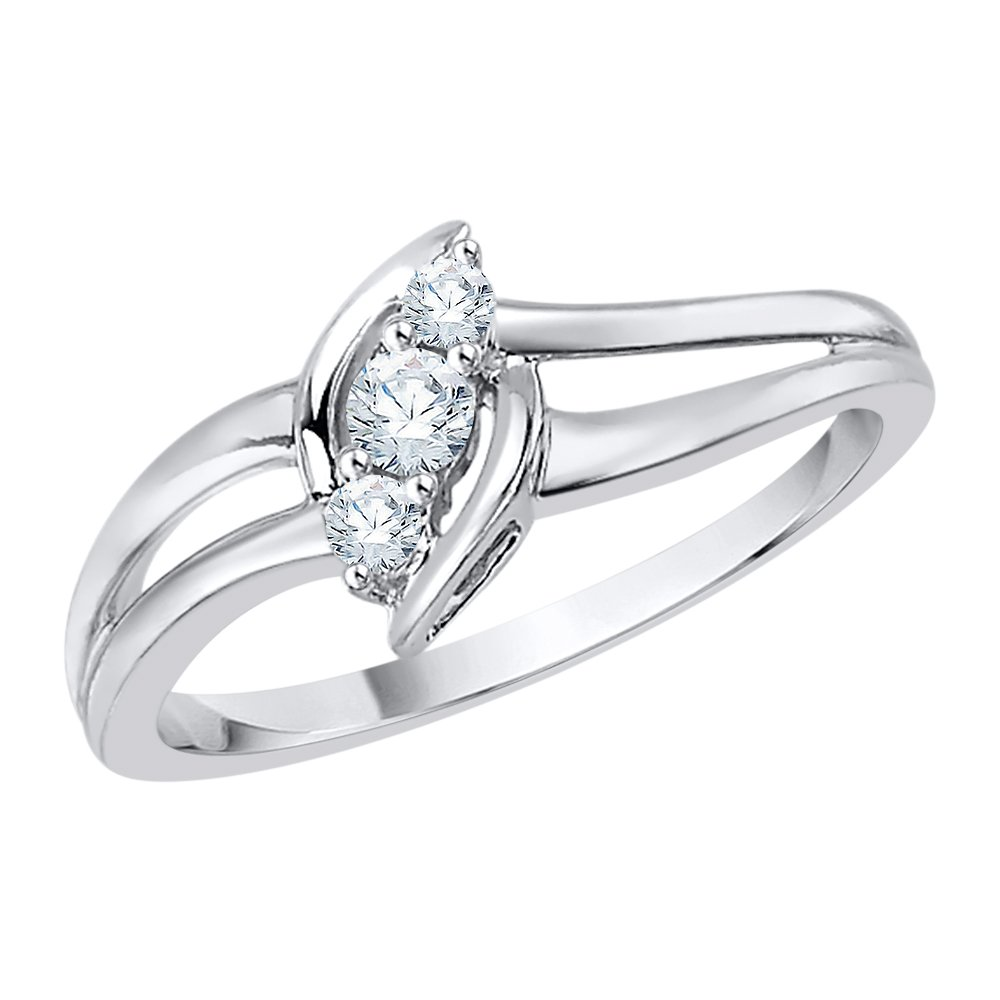 3 Diamond Fashion Ring in Sterling Silver (1/6 cttw) (I-Color, SI3-I1 Clarity) (Size-10.25)