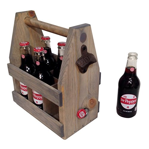 Handcrafted Wooden Beer Bottle Carrier w/Bottle Opener amp Magnetic Cap Catch   SixPack Holder   Vintage Design   Father#039s Day Anniversary Groomsman   Made in USA Gray Wash