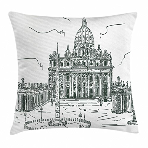 "Ambesonne Art Throw Pillow Cushion Cover, Monochrome Historical Architecture Themed Art Sketch Print of Forum in Rome Italy, Decorative Square Accent Pillow Case, 20"" X 20"", Green White"