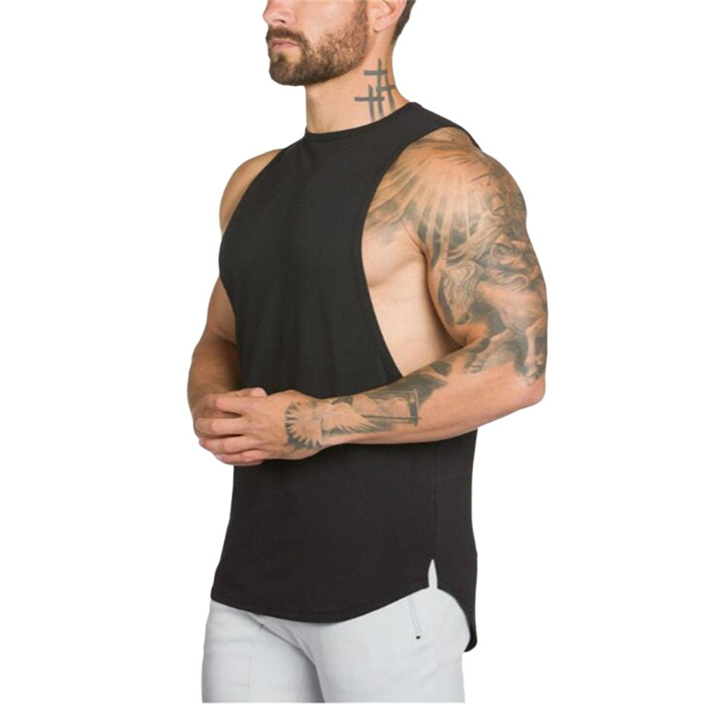 MODOQO Men's Tank Tops Fitness Sleeveless Cotton O-Neck T-Shirt Gym Vest(Black,M) by MODOQO (Image #2)