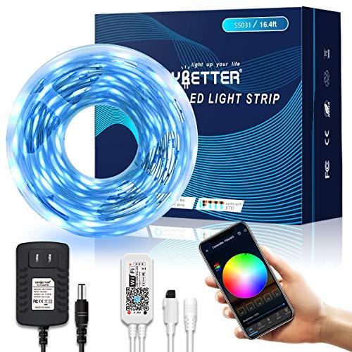 LED Strip Lights, DAYBETTER 16.4 FT Smart Strip Lights 5050 Kit 150 LEDs Work with Alex Google Assistant WiFi Rope Light APP Controlled Smart Light Strip for Bedroom, Home, Ceiling, Cupboard Lighting