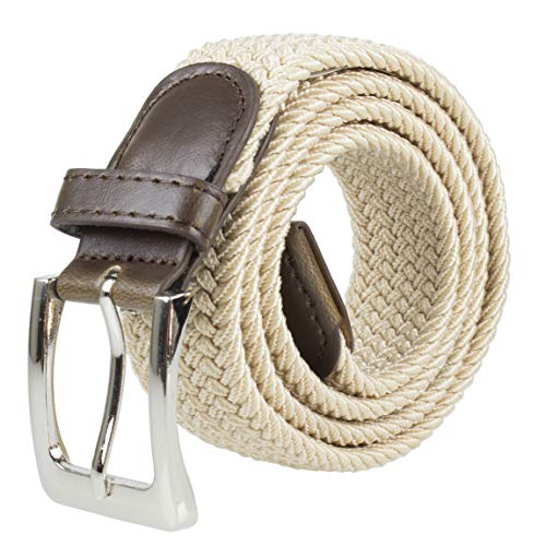 Canvas Elastic Fabric Woven Stretch Multicolored Braided Belts 2041-BE-L (Fabric Mens Belt)