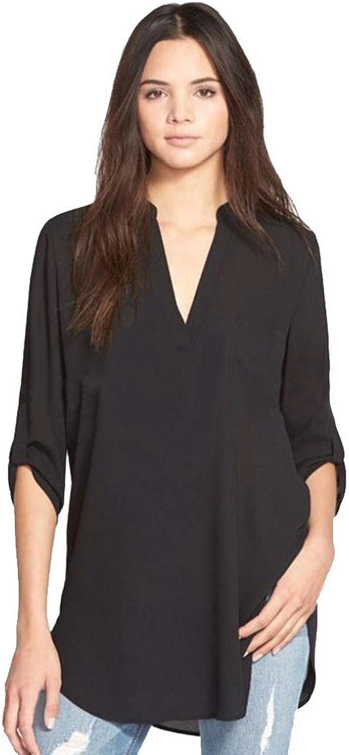 Women Loose V Neck Chiffon Long Sleeve Shirt Casual Blouse Tops Tunic Plus Size