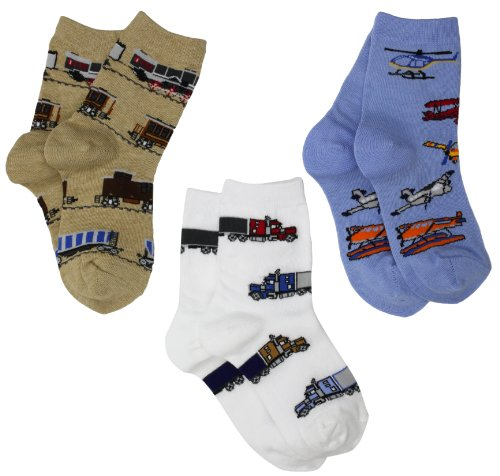 Jefferies Socks Little Boys Transportation Triple Treat Socks  (Pack of 3)