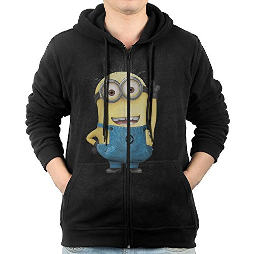 Men Minions Jerry Jorge Mark Fleece Hoodie Black - Minion Hoodie For Adults