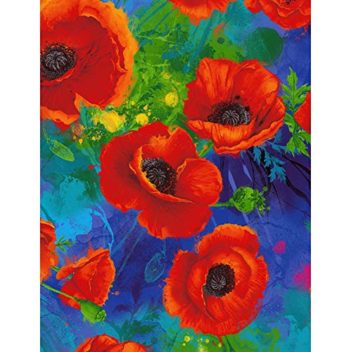 Timeless Treasures Digital I Dream Of Poppy Allover Poppies Royal Fabric Fabric by the Yard