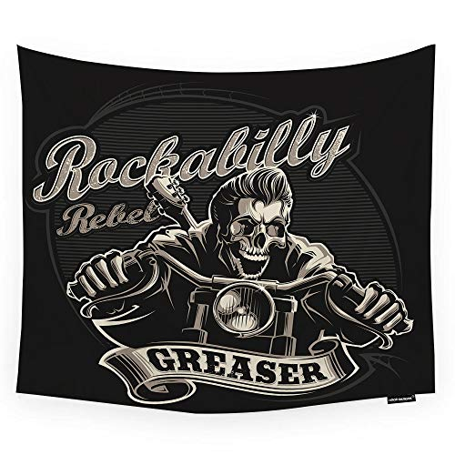 HGOD DESIGNS Skull Tapestry Wall Hanging Cool Rockabilly Skull Motorcycle Biker with Greaser Banner Room Decorative Wall Tapestry for Men/Women/Girl/Boy Polyester 60