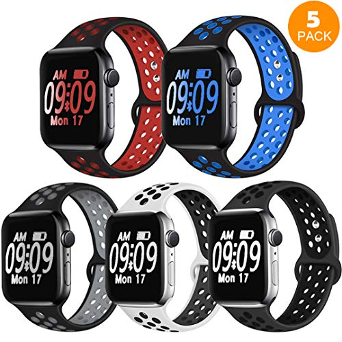 DOBSTFY Compatible with iWatch Band 38 40 42 44mm,Soft Silicone Sports Band Replacement Wristband Strap Compatible for iWatch Series 5 4 3 2 1, 42 44mm S/M,5PACK