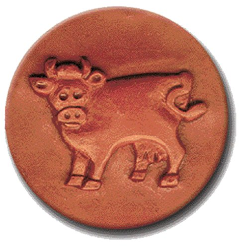 RYCRAFT 2 inch Round Cookie Stamp with Handle & Recipe Booklet-BOSSIE the COW