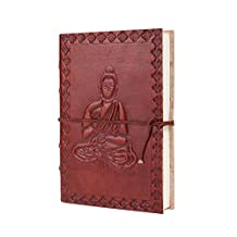 Leather Journal Travel Pocket Diary Embossed Buddha Design Planner with Handmade Paper