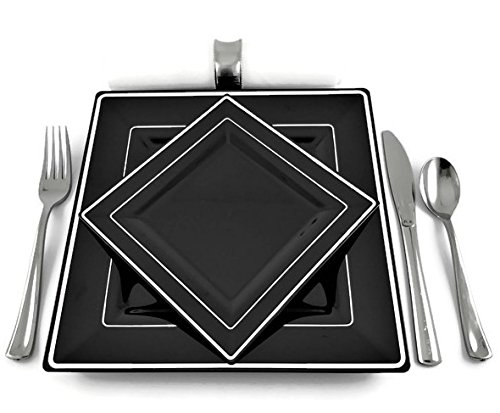 Square Black Disposable/Reusable Plastic Plates With Silver Rim