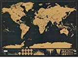 EXERZ EX-SCWMP-BLK Deluxe Scratchable World Map with Countries, Cities. Record and Share Your Journeys/Dream Places/Holiday/Adventures. in Modern and Sharp Black Colour - Wallpaper, Office Home