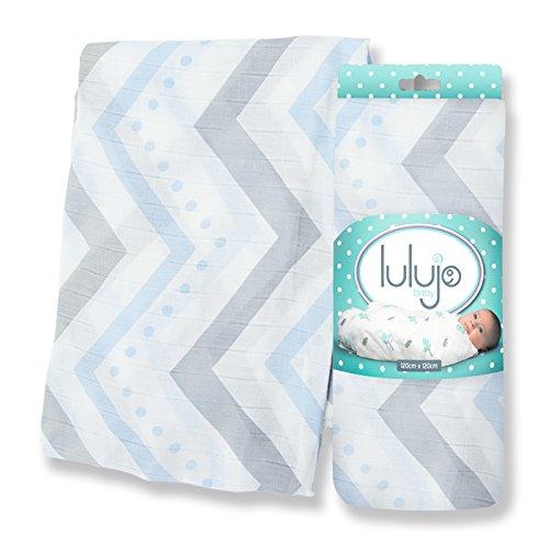Lulujo Bamboo Swaddling Wrap, Blue Chevron, One Size LJ104