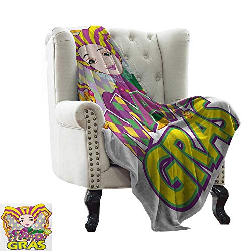 BelleAckerman Travel Blanket Mardi Gras,Carnival Girl in Harlequin Costume and Hat Cartoon Fat Tuesday Theme,Yellow Purple Green All Season Light Weight Living Room/Bedroom 30