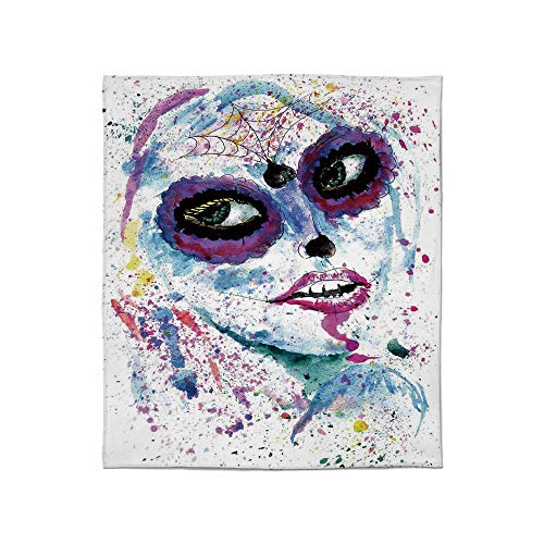 YOLIYANA Lightweight Blanket,Girls,for Bed Couch Chair Fall Winter Spring Living Room,Size Throw/Twin/Queen/King,Grunge Halloween Lady with Sugar Skull Make