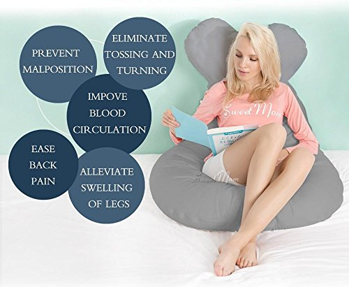 Meiz Unique U-Shaped Pregnancy Pillow - Full Body Maternity Pillow for Side Sleeping - Come With Easy on-off Zippered Velour Cover (Grey)