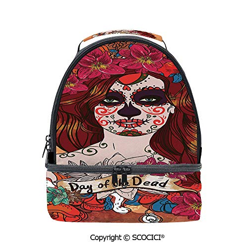 SCOCICI Large Capacity Durable Material Lunch Box Dia de Los Muertos Spanish Mexican Festive Skull Art Multipurpose Adjustable Lunch Bag -