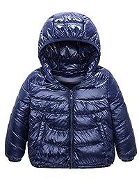 Kids' Down Jacket Straight Line Lightweight Rain-Proof Jacket with Hood and Pockets